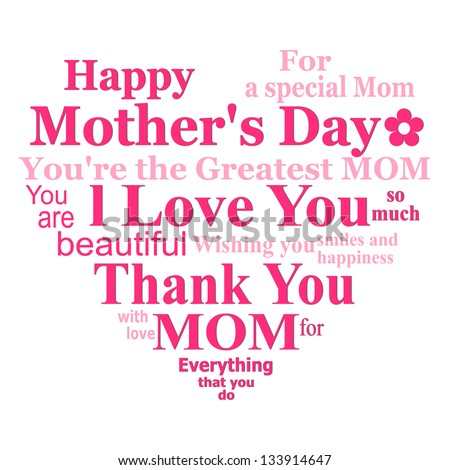 happy mothers day card design on white background - stock photo