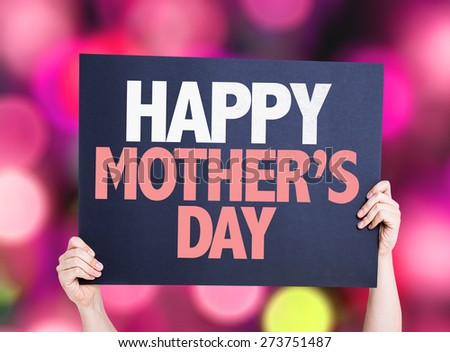 Happy Mothers Day card with bokeh background - stock photo