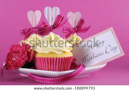 Happy Mothers Day cupcake gift with pink heart decorations for coffee gift and loving gift tag message, - stock photo