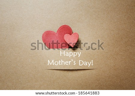 Happy Mothers Day message with handcrafted hearts - stock photo