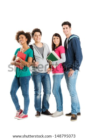 Happy Multi Ethnic Students Isolated On White Background  - stock photo