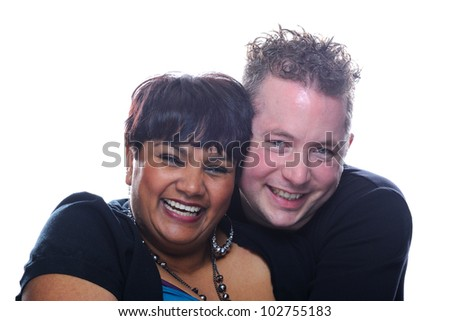 Happy multiracial couple - stock photo