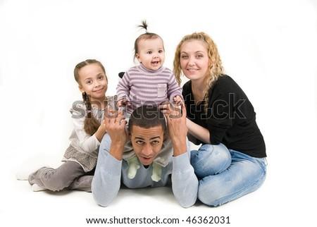 happy multiracial family - stock photo