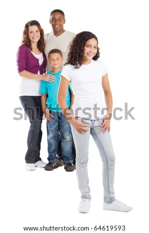 happy multiracial family of four studio portrait - stock photo