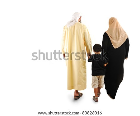 happy  muslim family - stock photo