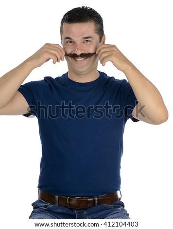 Happy Mustache Man - stock photo