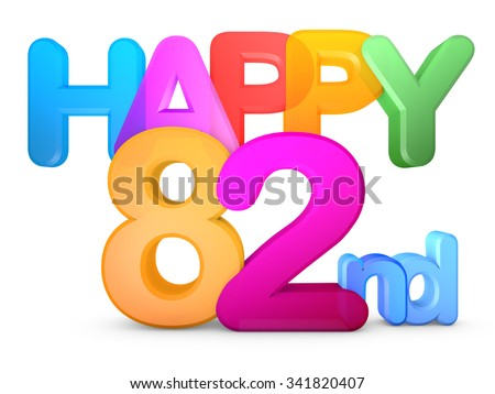 Happy 82nd Title in big letters - stock photo