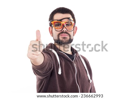 Happy nerd making Ok gesture with her hand using multiple glasses - stock photo