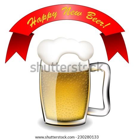 Happy New Beer - stock photo