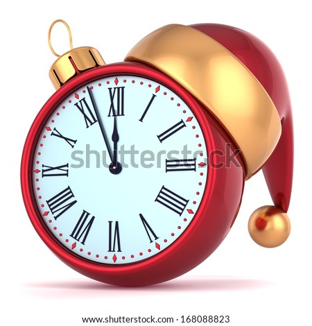 Happy New Year alarm clock countdown bauble Christmas ball ornament decoration Santa hat icon. Wintertime traditional midnight future beginning symbol souvenir. 3d render isolated on white background - stock photo
