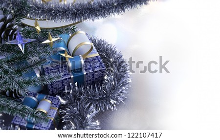 Happy New Year and Merry Christmas decorative composition with place for you text - stock photo