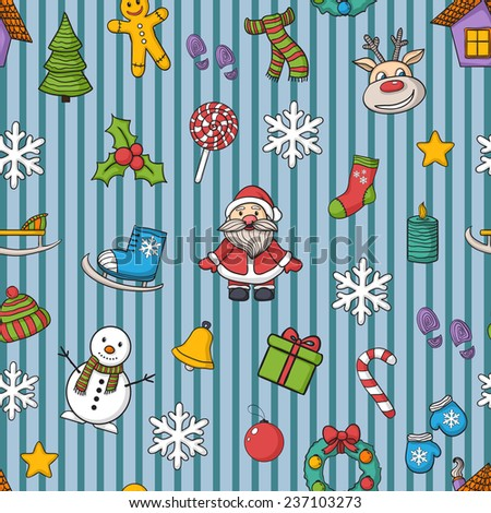 Happy New Year and Merry Christmas pattern in blue line,with Santa Claus,snowman, Christmas tree,  candy , ice skates, snowflake,gift, candle, Christmas wreath, Christmas toys, hat, scarf,deer - stock photo