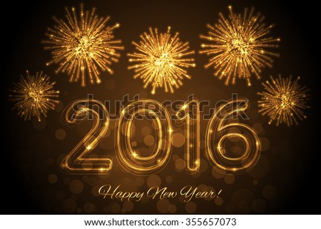 Happy New Year 2016 background with fireworks - stock photo