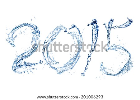 Happy New Year 2015 by Pure splash of water isolated on white background - stock photo