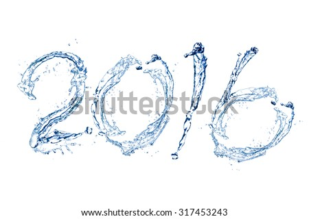 Happy New Year 2016 by Pure splash of water isolated on white background - stock photo