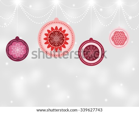 Happy New Year 2016 Card. Beautiful Vintage Christmas Balls on Silver Chains and Hanging Threads on Gray Defocused Background. Merry Christmas Concept. Stunning Snowflakes and Ball With Space for Text - stock photo