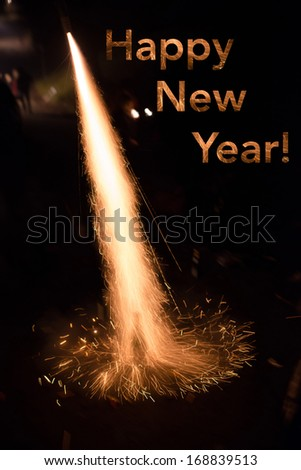Happy New Year card showing a fireworks rocket being launched out of a champagne bottle on its way into the sky - stock photo