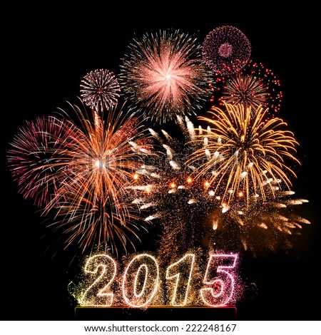 Happy New Year 2015! Celebration background with dazzling fireworks shaped as 2015 number. Big and bright display of fireworks for 2015 New Year.  - stock photo
