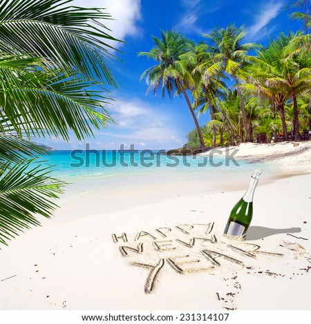 Happy New Year celebrations on the tropical beach  - stock photo