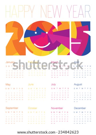 Happy New Year Colorful Calendar 2015 Design. Raster version - stock photo