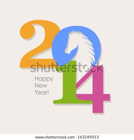 Happy New Year 2014 colorful celebration concept with Chinese symbol of the horse - stock photo