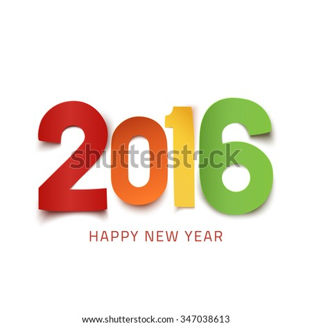 Happy New Year 2016. Colorful paper design. - stock photo