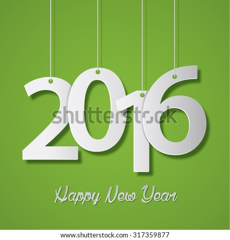 Happy new year 2016 creative greeting card design - stock photo