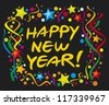 happy new year design (happy new year greeting card or background) - stock photo