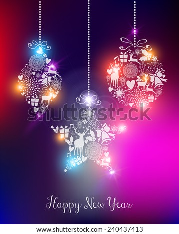 Happy new year 2015 elegant greeting card or poster design with unfocused lights and baubles. - stock photo