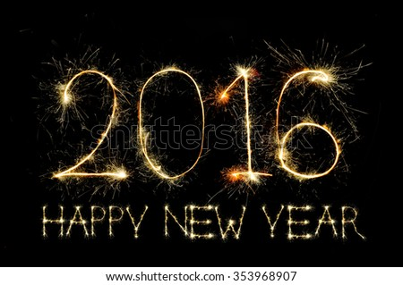 HAPPY NEW YEAR 2016 from colorful sparkle on black background - stock photo