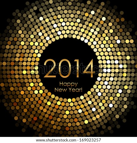 Happy New Year 2014 - gold disco lights frame - stock photo