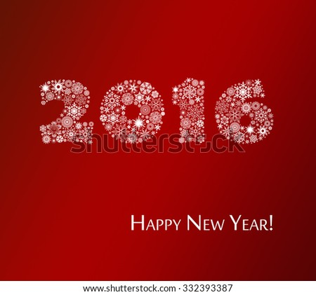 Happy New Year 2016 greeting card. Christmas background. - stock photo