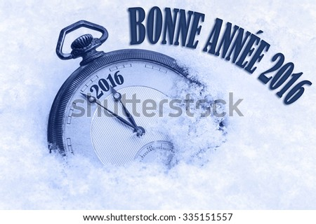 Happy New Year 2016 greeting in French language, bonne annee text, pocket watch in snow - stock photo