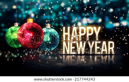 Happy New Year Hanging Baubles Blue Bokeh Beautiful 3D - stock photo