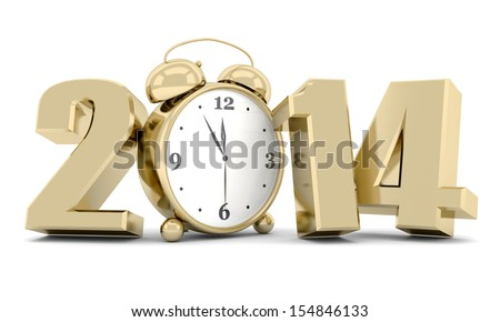 happy new year 2014 Illustrations 3d on a white background - stock photo