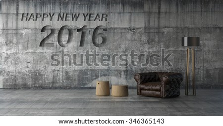 happy new year 2015 in bare concrete wall and furniture / 3D render image - stock photo