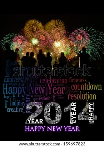 Happy New Year 2014 info-text clouds arrangement concept with fireworks and colorful as background  - stock photo