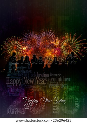 Happy New Year 2015 info-text clouds arrangement concept with fireworks and colorful as background - stock photo