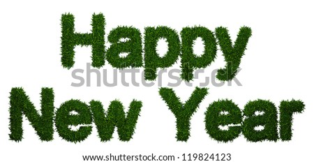 Happy New Year inscription made of twigs Christmas trees - stock photo