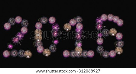 Happy New Year 2015 made of real firework - stock photo