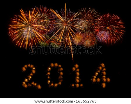 Happy New Year 2014 made of real firwwork - stock photo