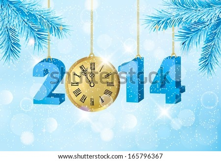 Happy new year 2014! New year design template. Raster version of vector - stock photo