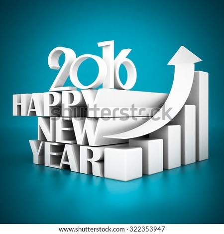 Happy new year 2016 on a blue background - stock photo