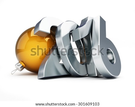 happy new year 2016 on a white background - stock photo