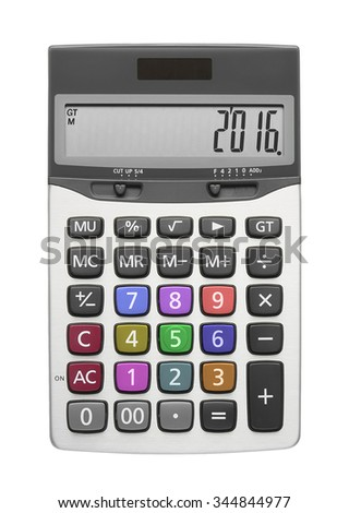 Happy New Year 2016 on silver calculator with multi color button, isolated included clipping path - stock photo