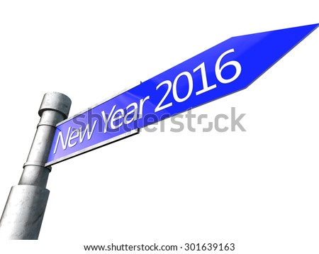 Happy New Year 2016 over white Background - stock photo