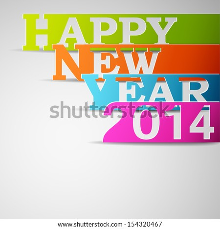 Happy new year 2014 paper strips illustration - stock photo