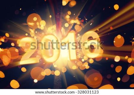 happy new year 2016 postcard - stock photo