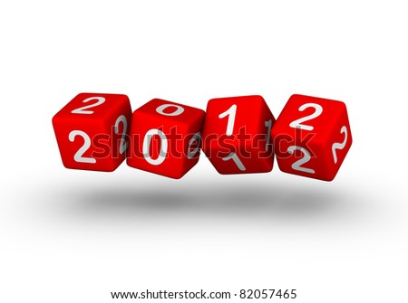 Happy New Year 2012 (red cubes sign for calendar or greeting card design) - stock photo
