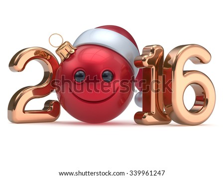 Happy 2016 New Year's Eve calendar date Smiley face emoticon bauble Christmas ball cartoon decoration red golden. Merry Xmas cheerful funny smile Santa hat joyful person laughing character. 3d render - stock photo